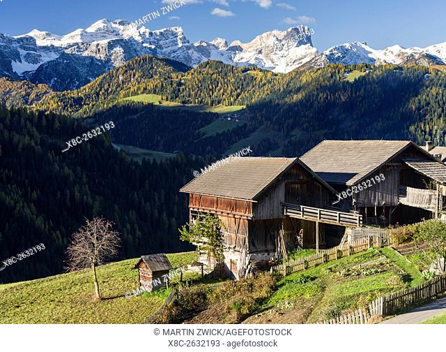 Wengen - La Valle, traditional mountain farms clustered in hamlets called Viles im Gader Valley - Val Badia in the Dolomites of South Tyrol - Alto Adige