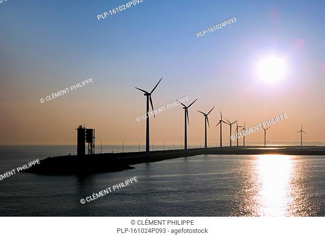 Wind turbines at windfarm on dam in the Zeebrugge / Zeebruges seaport, Belgium