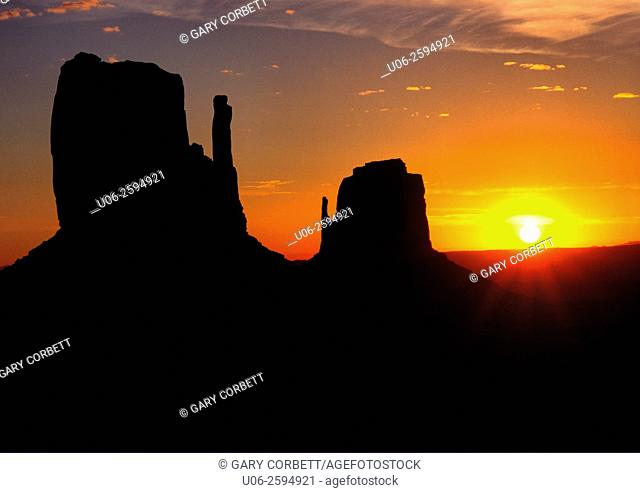 Sunrise over the East and West Mittens at Monument Valley, Arizona, USA