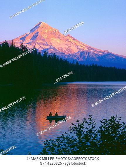 Mount Hood and Lost Lake at sunset, Oregon, USA