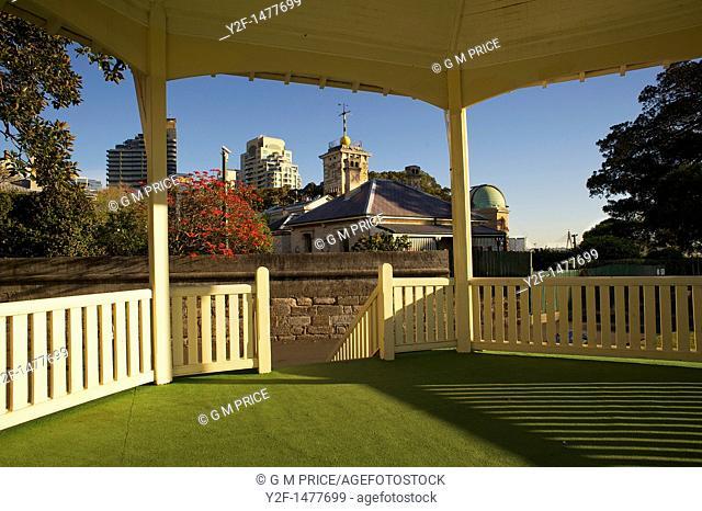 rotunda and exterior of historic Sydney Observatory buildings, Australia