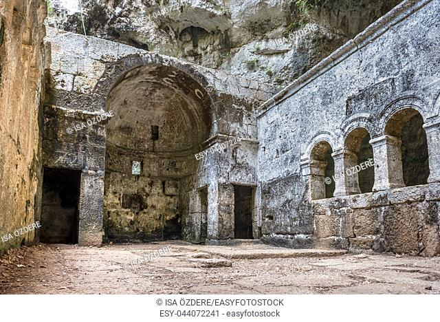 Virgin Mary Church built by St. Paulus inside of cave of Chasm of Heaven in Silifke district. Mersin Turkey