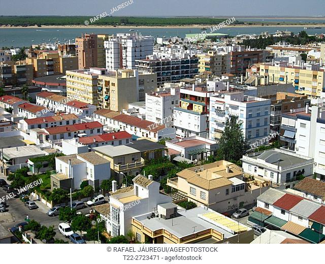 Sanlucar de Barrameda (Cádiz) Spain. Overlooking the town of Sanlucar de Barramda