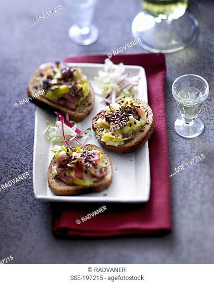 Leeks,seeds and smoked gammon on toast