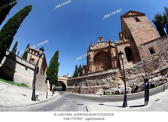 Panoramic view with fisheye San Esteban Church, Salamanca, Castilla y Leon, Spain, Europe