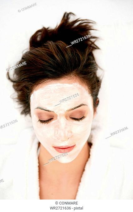 wearing, young, woman, face pack, face mask, model