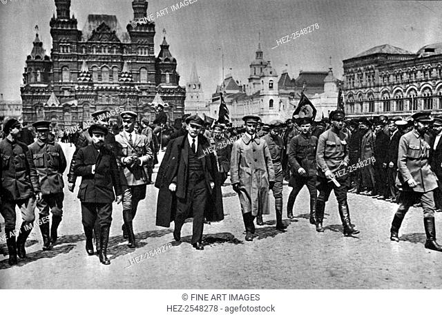 Vladimir Ilich Lenin, Russian Bolshevik leader, Moscow, Russia, 25 May 1919. Lenin (1870-1924) in Red Square for the Vsevobuch Parade