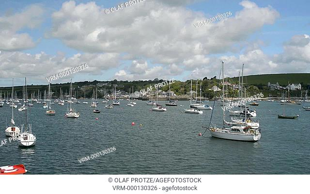 View over the Harbourfront and the Marina of Falmouth, Cornwall, England, UK