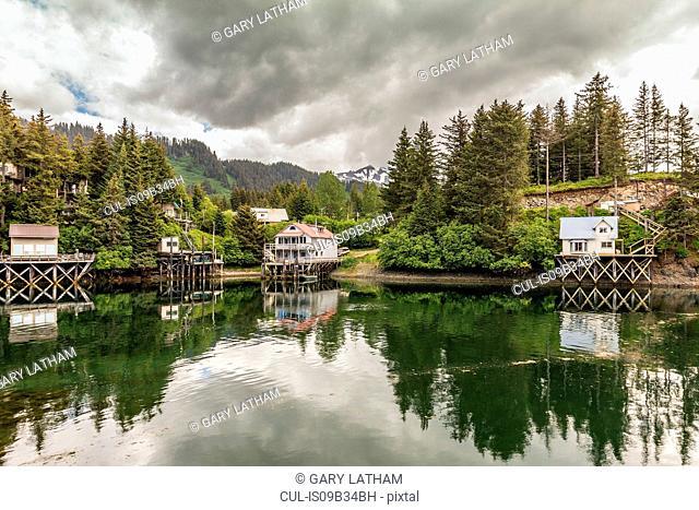 Waterfront buildings, Seldovia, Kachemak Bay, Alaska, USA