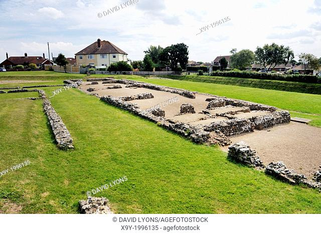 Caister Roman fort in Caister-on-Sea, Norfolk, England. Built around AD 200. A house, Building 1, including hypocaust