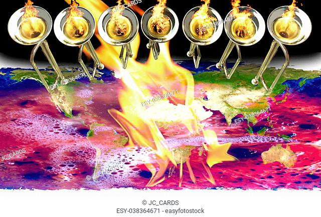 7 trumpets with fire flames, continents and red water