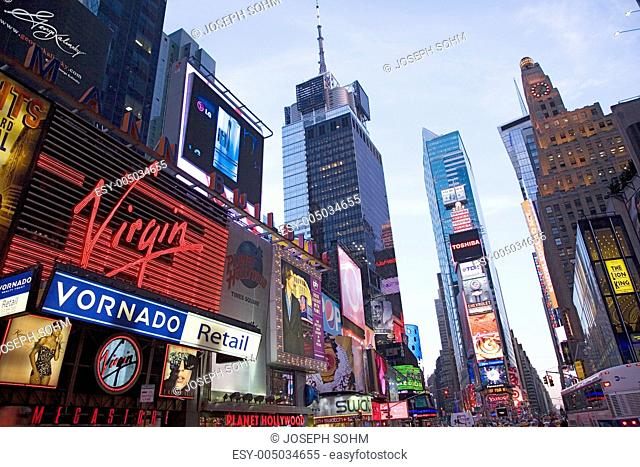 City lights at twilight at Times Square, Manhattan, New York City, New York