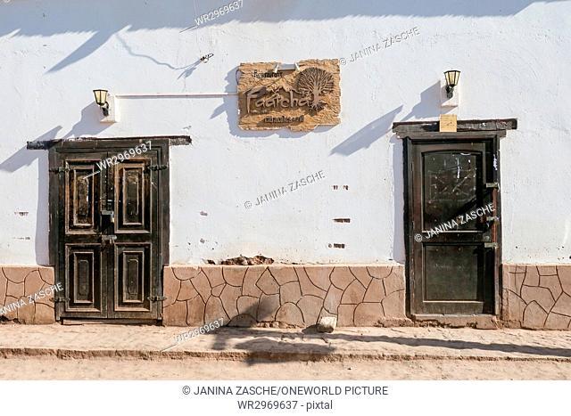Chile, Regio de Antofagasta, San Pedro de Atacama, house wall in San Pedro de Atacama