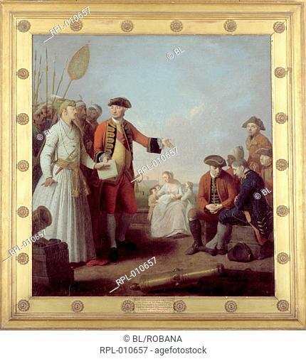Lord Clive & Nawab of Bengal, Lord Clive 1725-1774 receiving from the Nawab of Bengal the grant of the sum of money which was applied to establish the fund for...