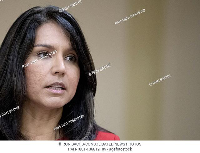 United States Representative Tulsi Gabbard (Democrat of Hawaii) makes remarks at a Capitol Hill press conference announcing the introduction of the Marjuana...