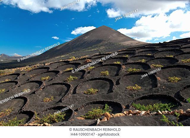 La Geria, Spain, Europe, rock, cliff, stone, rock, slope, inclination, hill, Canary islands, isle, agriculture, Lanzarote, lava, lava field, lava fields, hollow