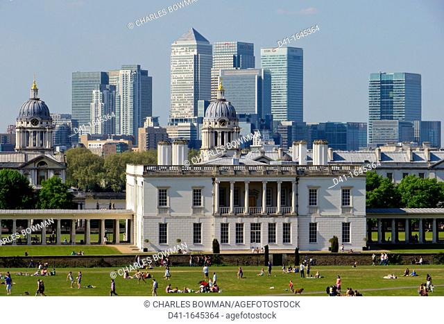 UK, England, London, Canary Wharf Isle of Dogs from Greenwich