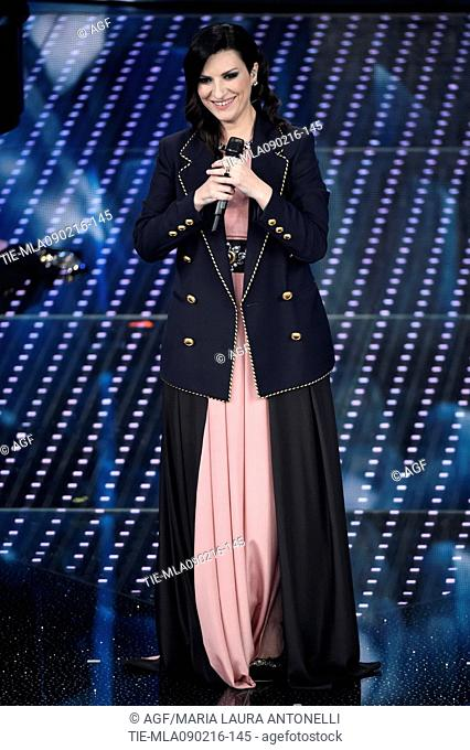 Laura Pausini with the jacket which won the festival during the 66th Sanremo Festival, Sanremo, Italy 09/02/2016