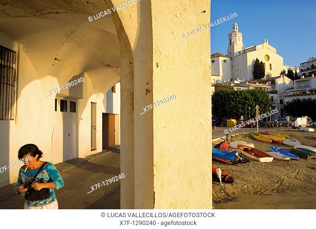 Riba d'en Pitxot, Santa Maria church in background. Cadaqués, Costa Brava, Girona province, Catalonia, Spain