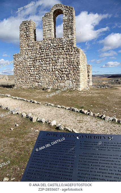 Roman ruins of Valeria Castile La Mancha Cuenca Spain. Medieval church ruins