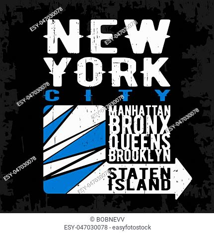 T-shirt print design. New York vintage stamp, poster. Printing and badge, applique, label for t-shirts, jeans, casual wear. Vector illustration