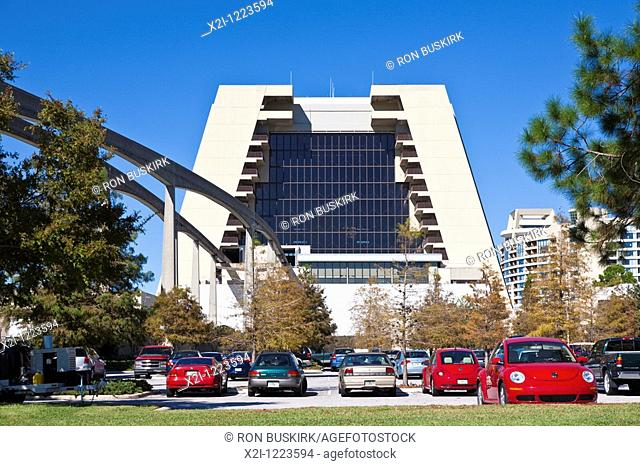 Kissimmee, FL - Nov 2009 - Monorail track goes through the Contemporary Resort at Walt Disney World in Florida