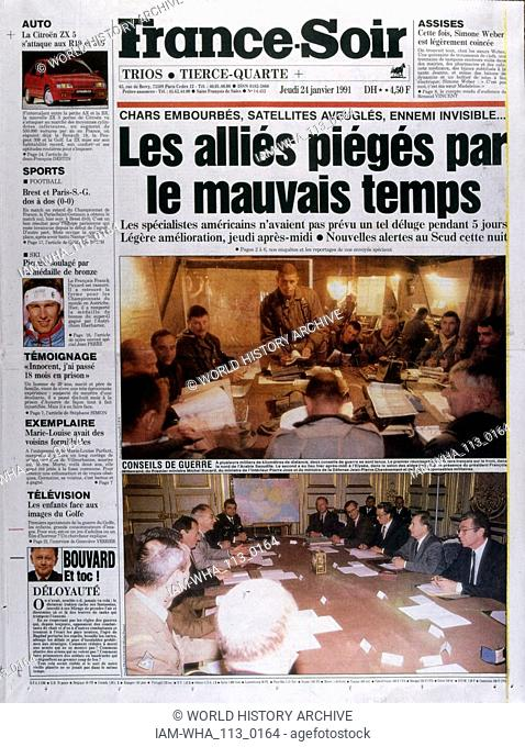 Headline in 'France-Soir' a French newspaper,24th January 1991, concerning French action in the Gulf War (2 August 1990 - 28 February 1991)