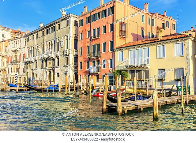 Venice piers for gondolas in the Grand Canal, Italy