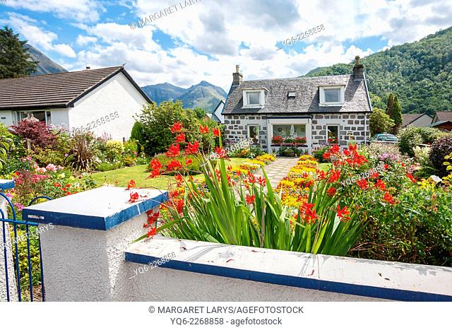 The village of Glencoe, which lies at the western end of the glen close to Invercoe where the river joins Loch Leven.Scotland, United Kingdom