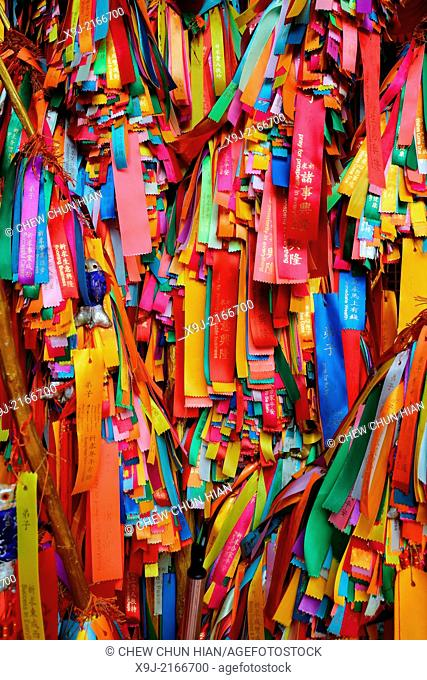 Good luck ribbons wishing ribbons for offering at the Kek Lok Si Temple, Crane Hill, Georgetown