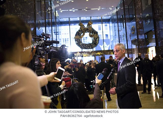 Mayor Rahm Emanuel (Democrat of Chicago) speaks to members of the media at Trump Tower in Manhattan, New York, New York, USA on Wednesday, December 7, 2016
