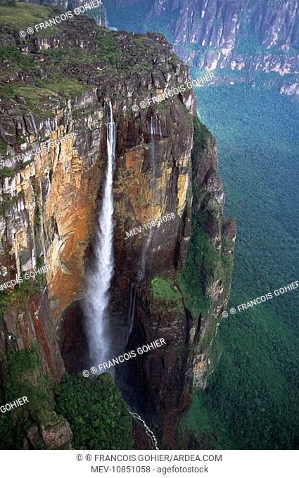 Venezuela - aerial Angel Falls. Canaima National Park, Bolivar State. Angel falls is the highest waterfall in the world at 980 metres