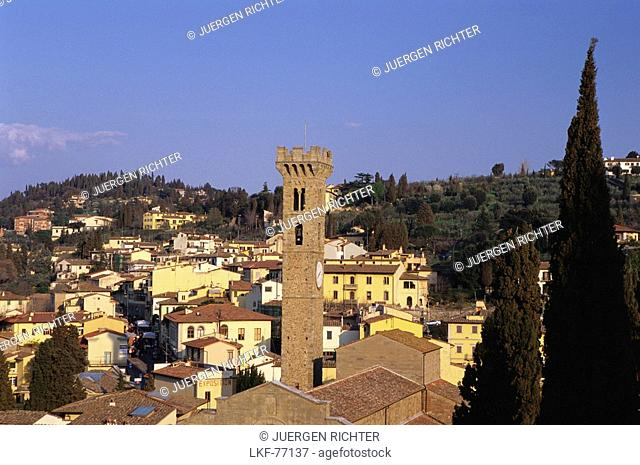 Fiesole with Campanile of the Cthedral, Tuscany, Italy
