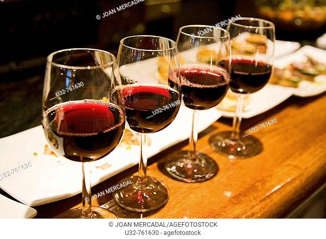 Four glasses of wine, Bilbao. Biscay, Basque Country, Spain