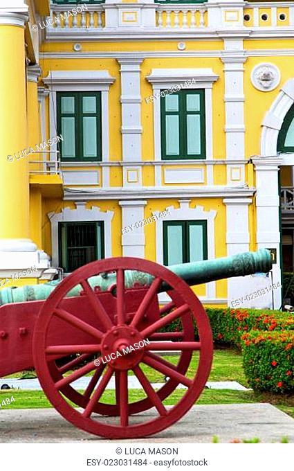 cannon bangkok in thailand flower garden and temple steet