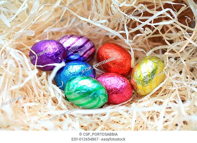 Chocolate eggs in a nest