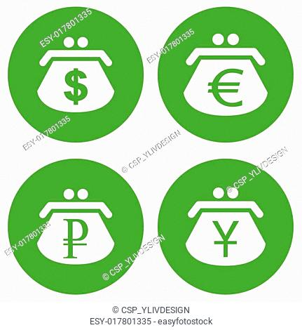 Green dollar purse icon Stock Photos and Images | age fotostock