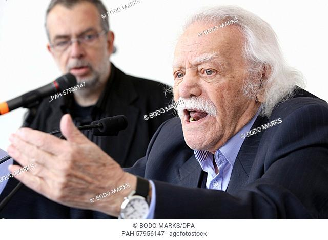 Former Partisan, politician and writer, Manolis Glezos of Greece speaks during a May Day demonstration organized by the Confederation of German Trade Unions...