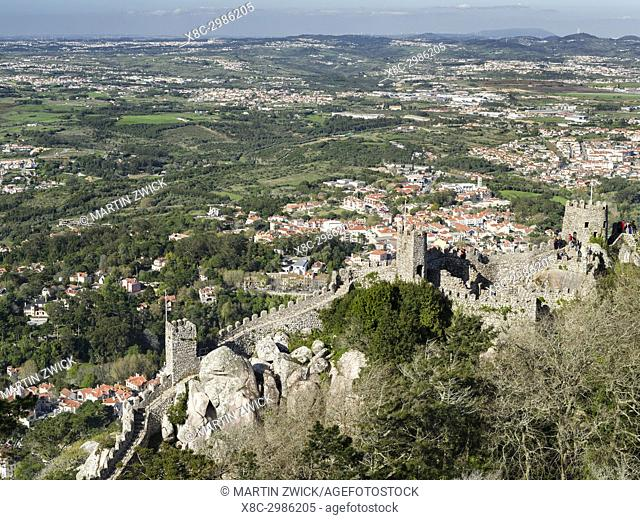 The Castelo dos Mouros, the Moors Castle, in Sintra near Lisbon, part of the UNESCO World Heritage. view of the surroundings
