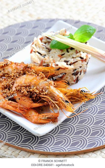 Roasted prawns and wild rice