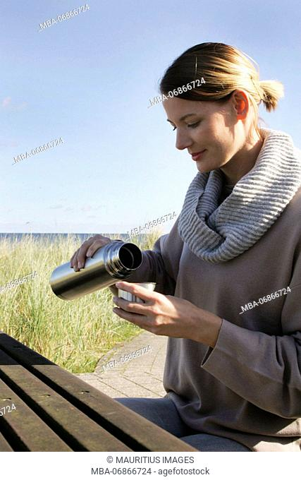 Young woman, Baltic Sea, dunes, leisure time