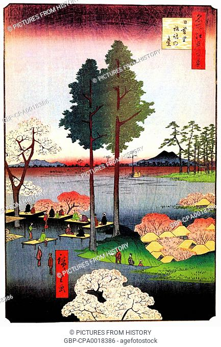 Japan: Spring: Suwa My?jin Shrine in Nippori (???????); Mount Tsukuba. Image 15 of '100 Famous Views of Edo'. Utagawa Hiroshige (first published 1856–59)