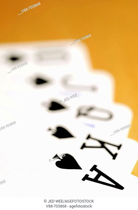 Best possible five card poker hand, a royal straight flush in Spades; the Ace of Spades