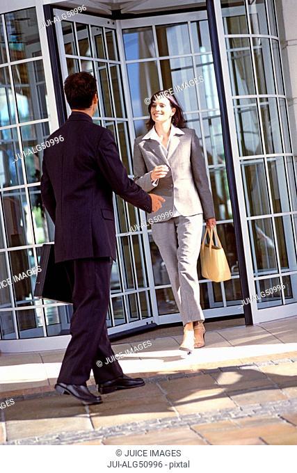 Male executive greeting female executive