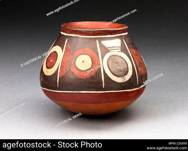 Bowl with a Horizontal Band of Circular Motifs - 180 B.C./A.D. 500 - Nazca South coast, Peru - Artist: Nazca, Origin: Nazca Valley, Date: 180 BC-500 AD