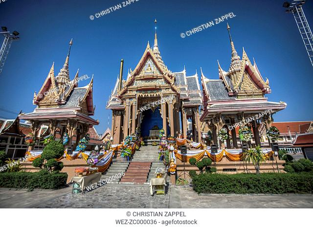 Thailand, Samut Sakhon Province, Samut Sakhon, Wat Pom, Temple, Crematorium decorated for a funeral