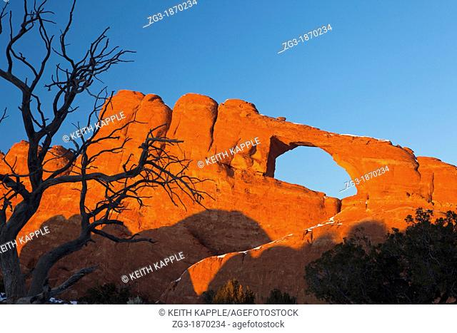 Sunset at Skyline Arch with Dead Tree, Arches National Park, USA