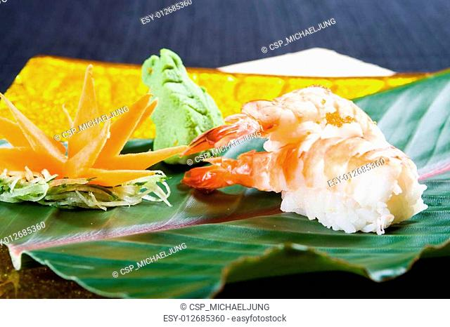 japanese sushi on bamboo leaf