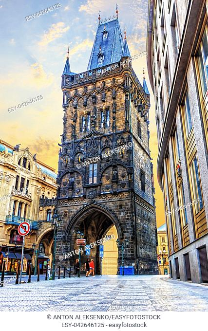 Powder Gate, a famous tower in the Royal Route of Prague, Czech Republic
