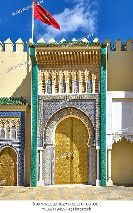 Doors to Royal Palace in Fez, Morocco, Africa